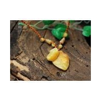 Leaf Pixiu yellow jade necklace