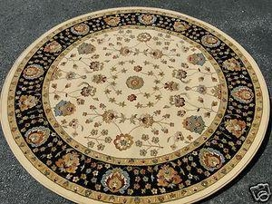 China New Persian Tabriz Design Creme Black Burgundy Gold Turquoise Round Rug 5'-3 on sale