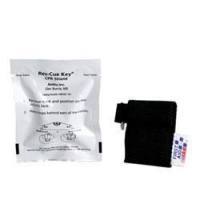CPR FACESHIELD, BLACK, WOVEN KEYCHAIN POUCH[M572]