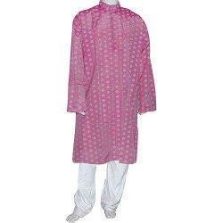 China Mens Wedding Dress Silk and Cotton Blend Kurta Pajama Size XL Chest :48 inches (pgkp005b) on sale
