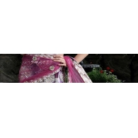China Dark Violet Net Lehenga Style Saree with Dupatta on sale
