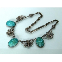 China Art Deco Blue Scarab Glass Egyptian Revival necklace[N202] on sale