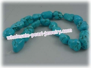 China 17*22mm blue irregular shape turquoise strands wholesale on sale