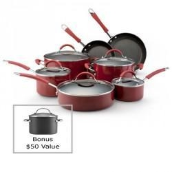 China KitchenAid Porcelain Enamel 12 Piece Cookware Set  Red on sale