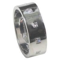 China Princess Cut Diamond Set Flat Wedding Ring on sale