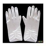 China Short Ivory Satin Gloves with Pearls on sale