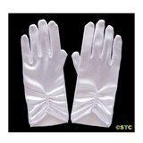 China Short White Satin Gloves with Pearls on sale