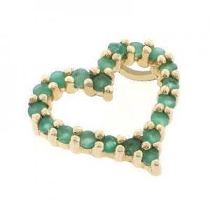 China 14K Yellow Gold Emerald Heart Pendant on sale