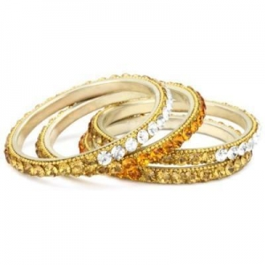 China Chamak by priya kakkar 4 White and Gold Ombred Crystallized Bangle Bracelet on sale