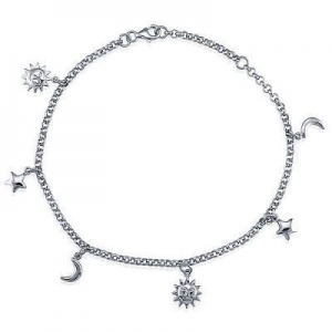 China Sterling Silver Anklet Ankle Bracelet with Sun Moon Stars Charms - Women's Jewelry on sale