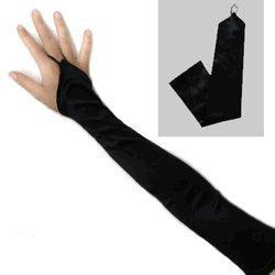 China Fingerless Black Long Bridal Satin Gloves on sale