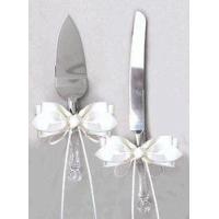 Ivory Satin Bow Wedding Cake Knife Cutter & Server Set
