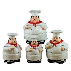 China White Bistro Fat Chef Ceramic, 4pc Canister Set on sale