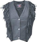 China Ladies Basic Drum Dyed Naked Cowhide Vest with Braid Trim & Fringe - Sizes XS to 3XL on sale