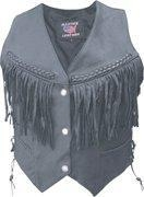 China Ladies Basic Drum Dyed Naked Cowhide Vest with Braid, Fringe & Conchos - Sizes XS to 3XL on sale