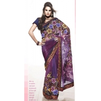 China Dark Blue Color Net Sarees on sale