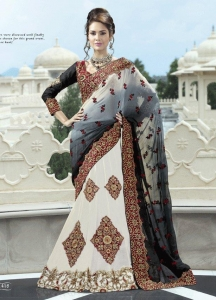 China Black And White Color Viscose Lehenga Style Saree on sale