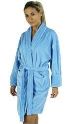 China Solid Zero Twist Terry Loop Women's Bathrobe, 100% Cotton Terry Cloth, Short, Lt. Blue, One Size on sale