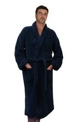 China Basic Solid Terry Velour Men's Bathrobe, 100% Cotton, Long, Navy, One Size on sale