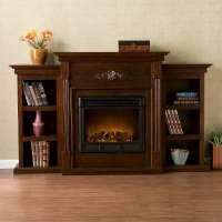 China Tennyson Espresso Electric Fireplace with bookcases on sale