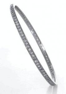 China Sterling Silver & Cubic Zirconia Channel Bangle Bracelet on sale