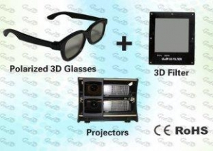 China 3D Polarized Glasses with Trolley and 3D Projector for Home Theater on sale