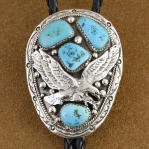 China American Indian Eagle Turquoise Sterling Silver Bolo Tie Mens Jewelry on sale