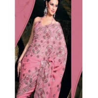China Pink Embroidery Saree on sale
