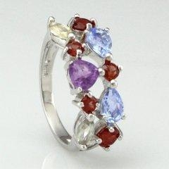 China Multicolor Gemstone 925 Sterling Silver Ring on sale