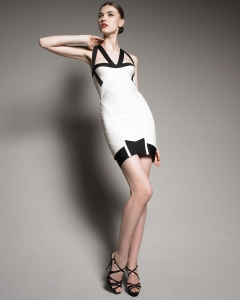 China Herve Leger Colorblock Halter Dress on sale