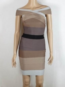 China Herve Leger Gray Black Combo Bandage Dress on sale