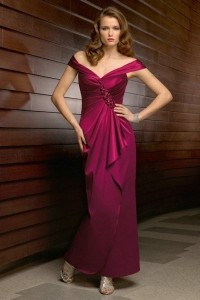 China Tiered Side Draping Off The Shoulder Satin Slits Mother Of The Bride Gowns 2012 on sale