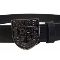 Cheap Dsquared Men Black Leather Belt Black Metallic Logo Classic