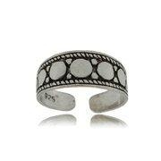 China Adjustable 925 Silver Oxidized Multi Circle Toe Ring on sale