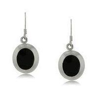 Sterling Silver Dangle Oval Earrings W Black Onyx