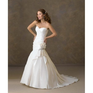 China Sweetheart Neck Asymmetrical Draped Wedding Dress(BOW-082) on sale