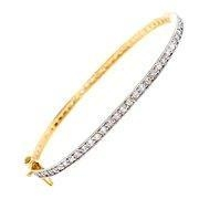 China C.Z. Prong Setting Gold Plated (.925) Sterling Silver Bangle on sale