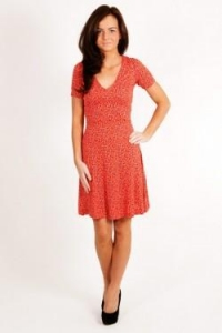 China French Connection Red V Neck Flared Dress on sale
