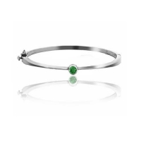 .20ct Emerald Accented Bangle 14k Gold