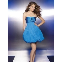 Blue Strapless Puff Prom / Homecoming Dress CBPD022