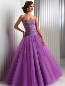 China Elegant Purple Strapless Long Ball Gown PPD012 on sale