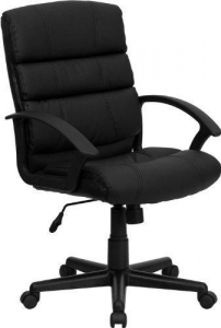 China Flash Furniture Mid-Back Black Leather Office Chair on sale