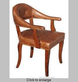 China R-170 Accent ArmChair in Antique Leather w/brass metal studs. on sale