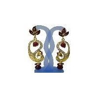 Traditional indian costume diamond earrings