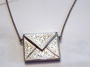 China 1928 Engraved Silvery Envelope Vintage Necklace on sale