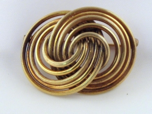 China 12k Gold Filled Twin Swirling Rings Vintage Brooch Pin on sale