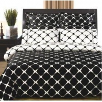 8pc Bloomingdale Egyptian Cotton Duvet Cover Set-White and Black