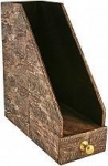 Genuine chicken / hen leather desktop documents box HDT3 Dark Brown