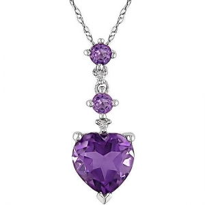 China 10k White Gold Diamond Amethyst Heart Necklace on sale