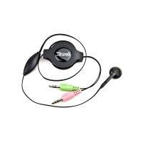 China Zonet Retractable Stereo Headphones with Inline Microphone & 3.5mm Jacks (Black) on sale
